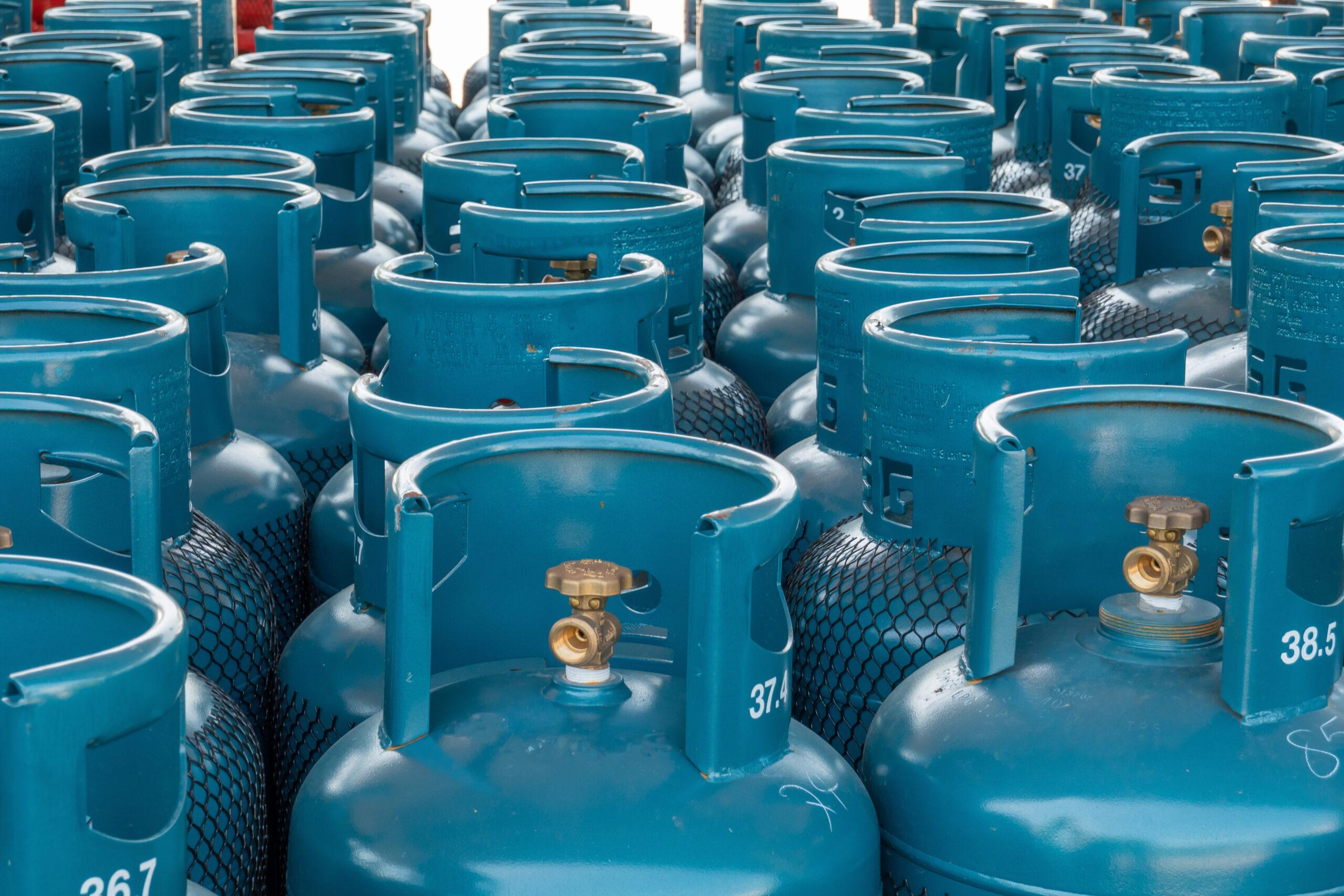 LPG gas bottle stack ready for sell, filling lpg gas bottle.